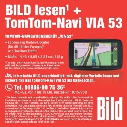 TomTom Navi VIA 53 für Bild Abo (offenbar jederzeit kündbar)