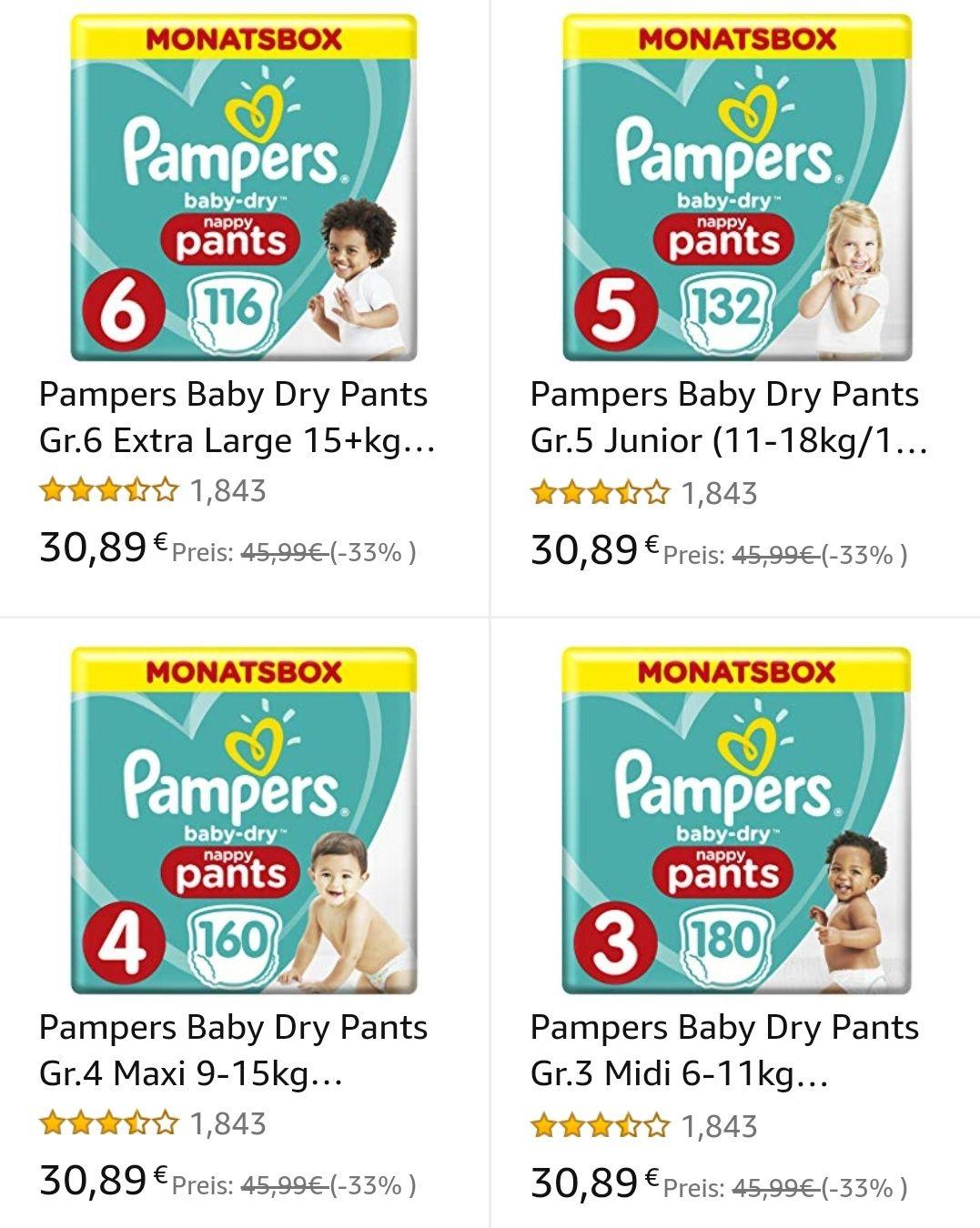 Pampers Baby Dry Pants Monatsboxen Gr. 3, 4, 5 & 6 zum jeweiligen Bestpreis