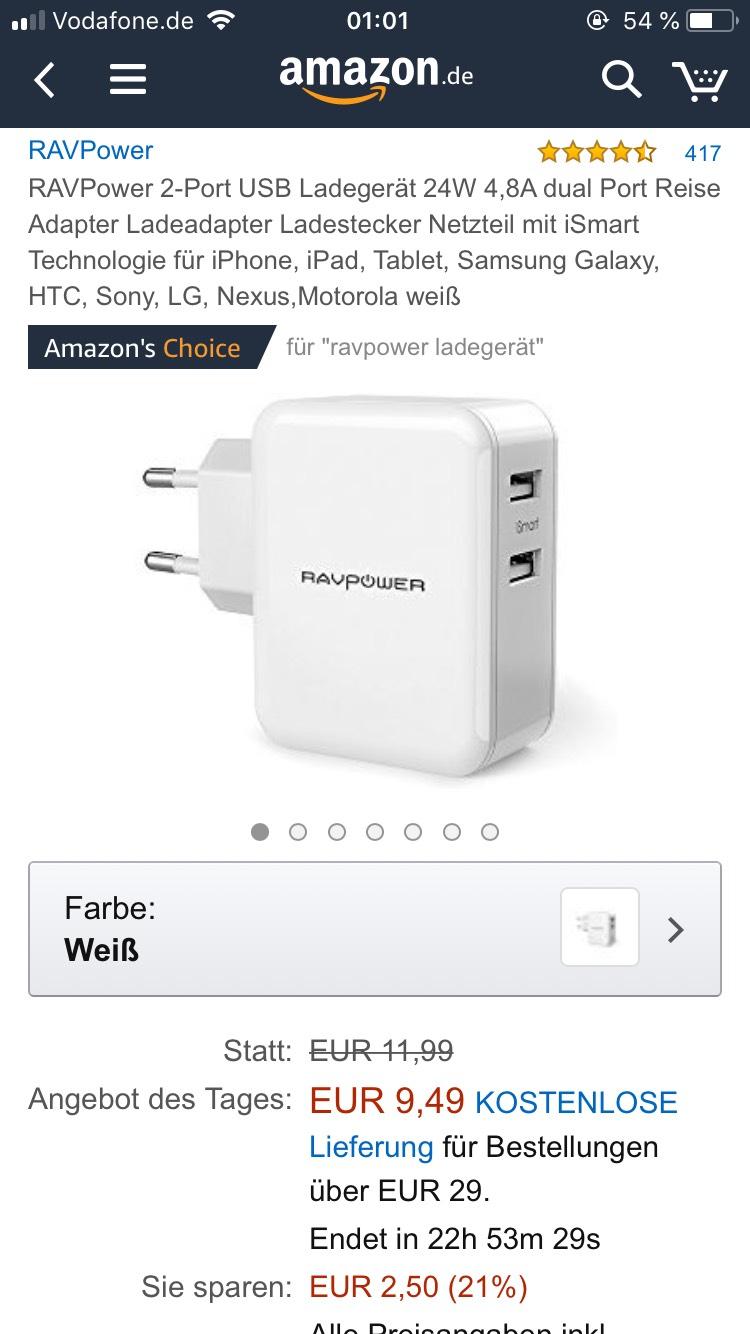 RAVPower 2-Port USB Ladegerät