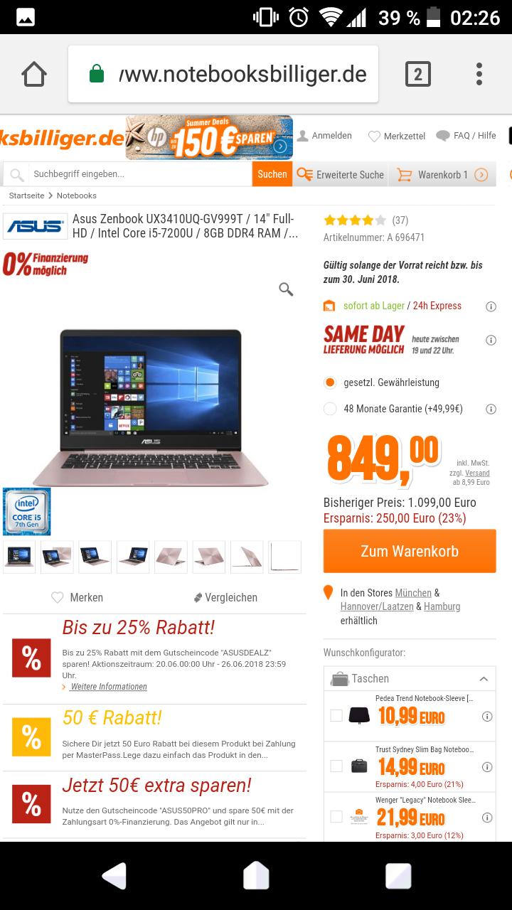 """Asus Zenbook UX3410UQ-GV999T / 14"""" Full-HD / Intel Core i5-7200U / 8GB DDR4 RAM / 1000GB HDD +256GB SSD / GeForce 940MX / Win10"""