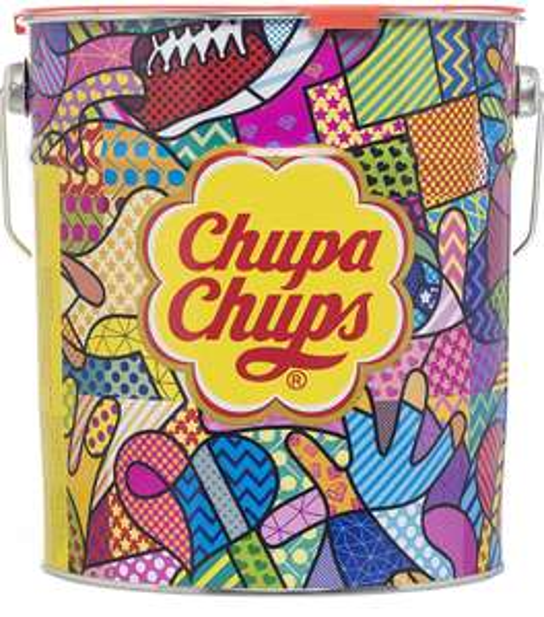 [Prime] Chupa Chups Best of Lollipop-Eimer, 150 Lutscher in der Aufbewahrungsdose, Pop-Art Metalldose, 6 fruchtig-cremige Geschmacksrichtungen