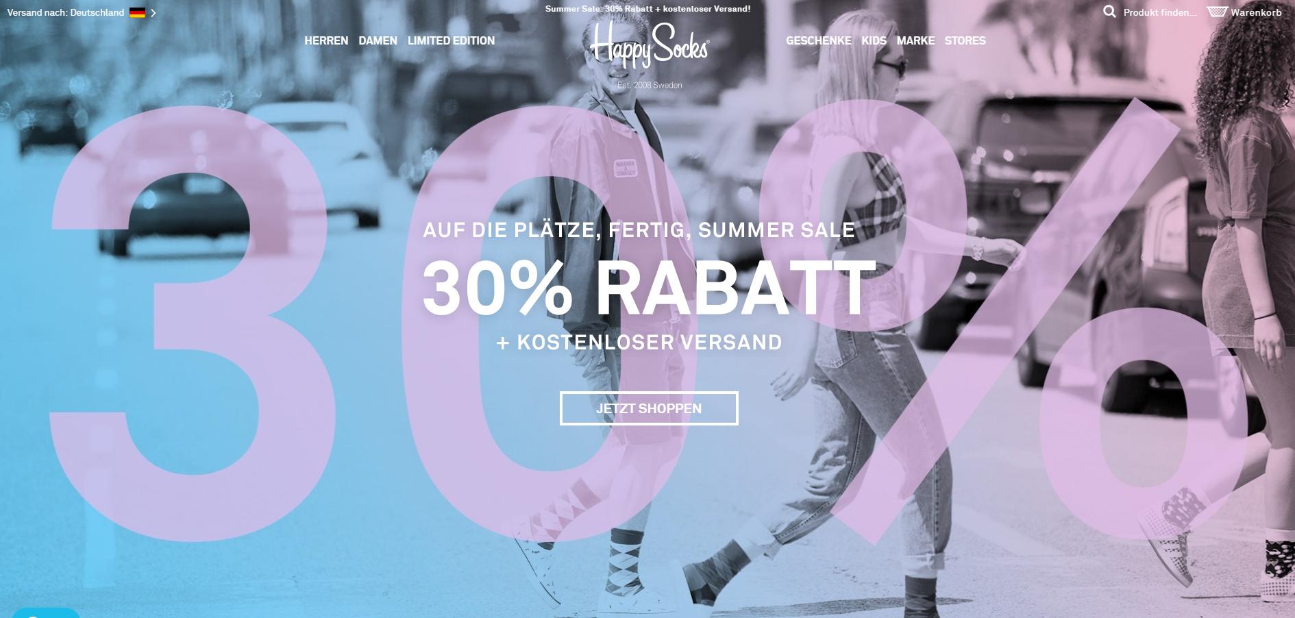 30% Rabatt + 10% Newsletter + kostenloser Versand bei Happy Socks