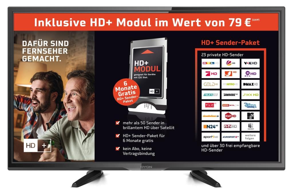 32 Zoll HDready LED TV von DYON inkl. HD+ Modul (Karte 6Monate) Triple HD-Tuner, USB