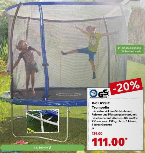 Gartentrampolin, 300 cm Durchmesser, innenliegendes Sicherheitsnetz, 150 kg belastbar, 3 Jahre Garantie für 111 € @ Kaufland ab 28.06.