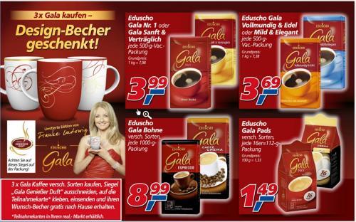 Eduscho Gala Kaffee Pads, gemahlen und ganze Bohne + Kaffeebecher gratis! [,-real]