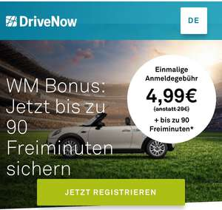 DriveNow WM Registrierung Special 4,99€ statt 29€