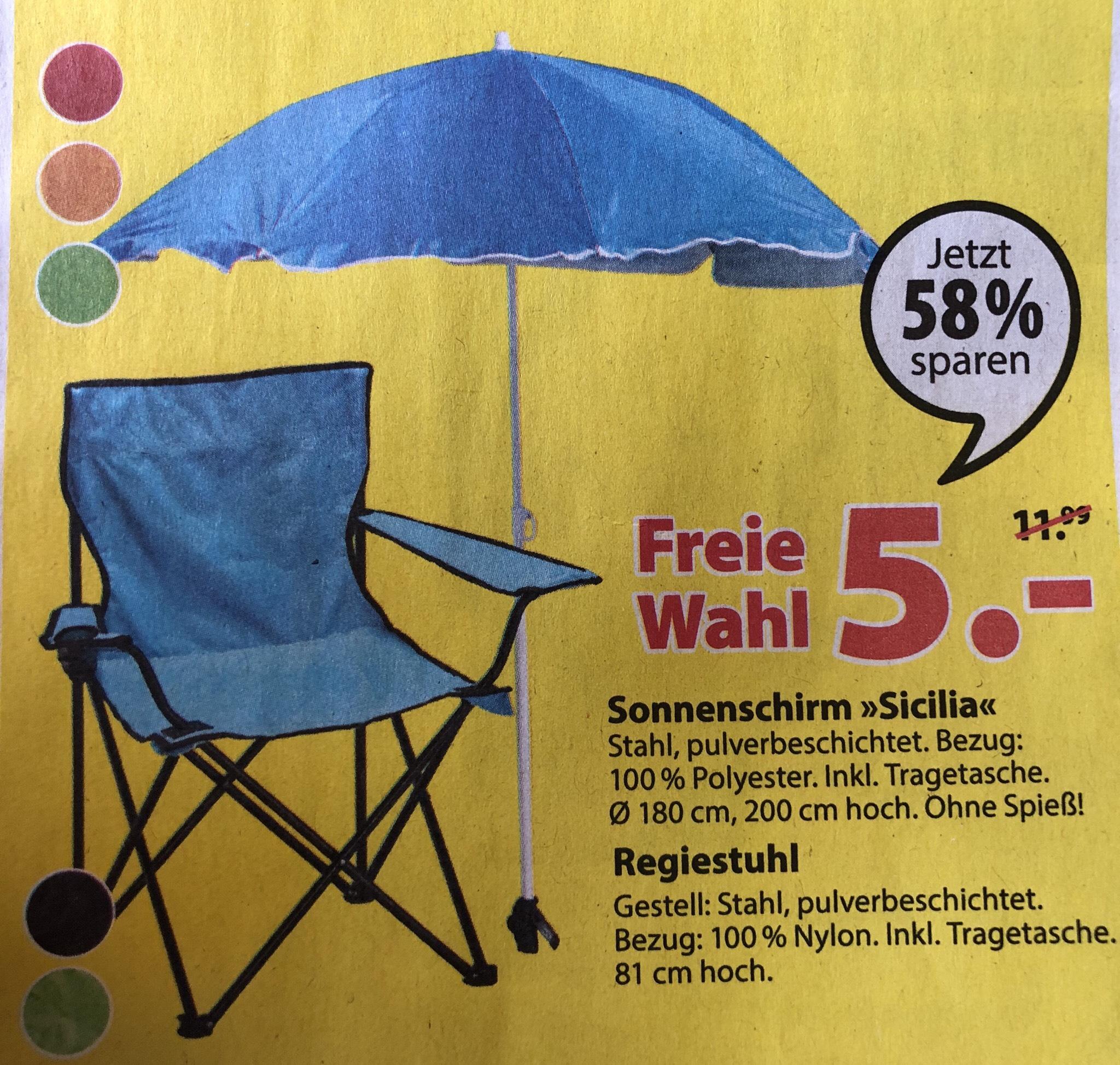 Campingstuhl oder Sonnenschirm für 5€ im Dänischen Bettenlager