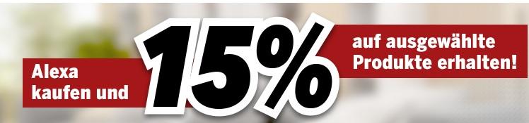 15% auf ausgewählte Smart Home (Netgear Arlo, Ring, Netatmo, homematic IP, Trust) bei Kauf von Alexa