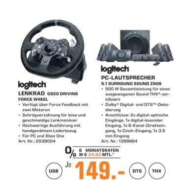 [Regional Saturn Hennef] Logitech G920 Racing Lenkrad Driving Force für Xbox One, PC,Schwarz // Logitech Z906 3D Stereo Lautsprecher THX (Dolby 5.1 Surround Sound und 500 Watt) schwarz für je 149,-€