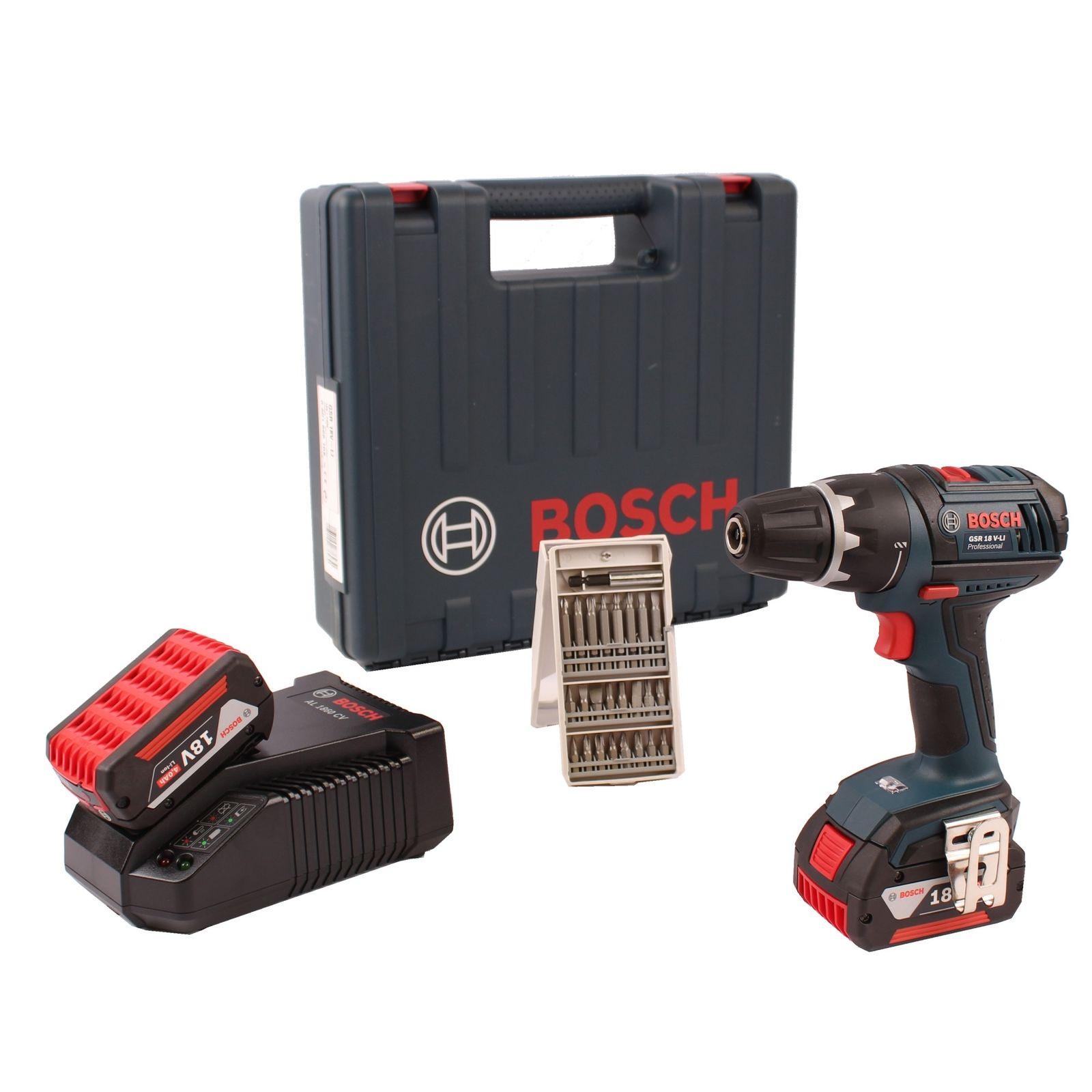 Bosch-Akku-Bohrschrauber-GSR-18V-Li-2x-4-0AH-Akkus-Lader-Bitsatz-im-Koffer für 174,95€ [Real]