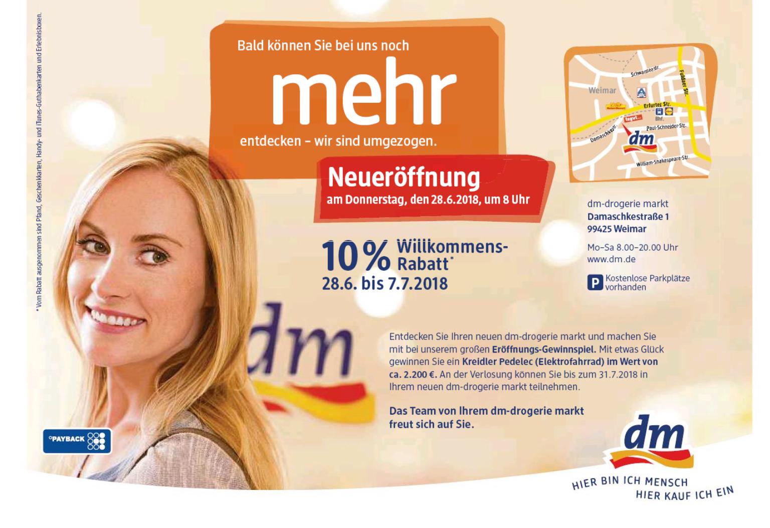 [Lokal] Neueröffnung dm Weimar - 10% auf fast alles