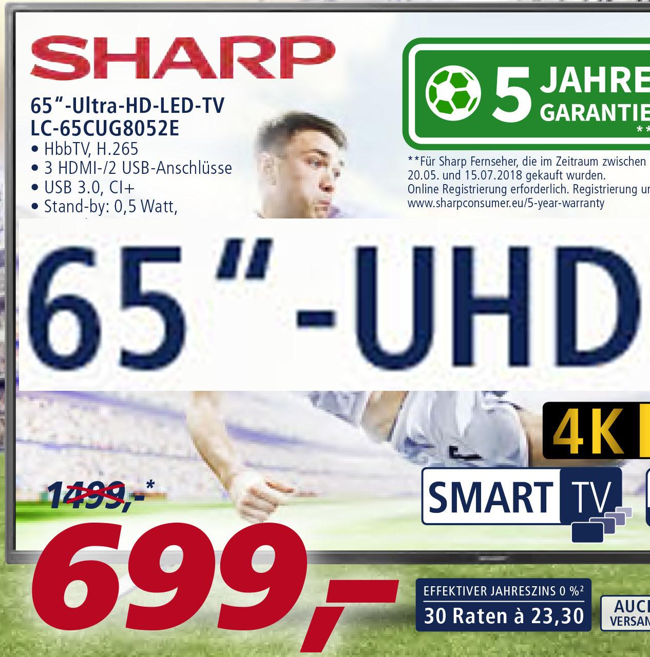 Sharp UHD TV LC-65CU8052E, 65 Zoll, Triple Tuner, SmartTV für 699€ [Real]