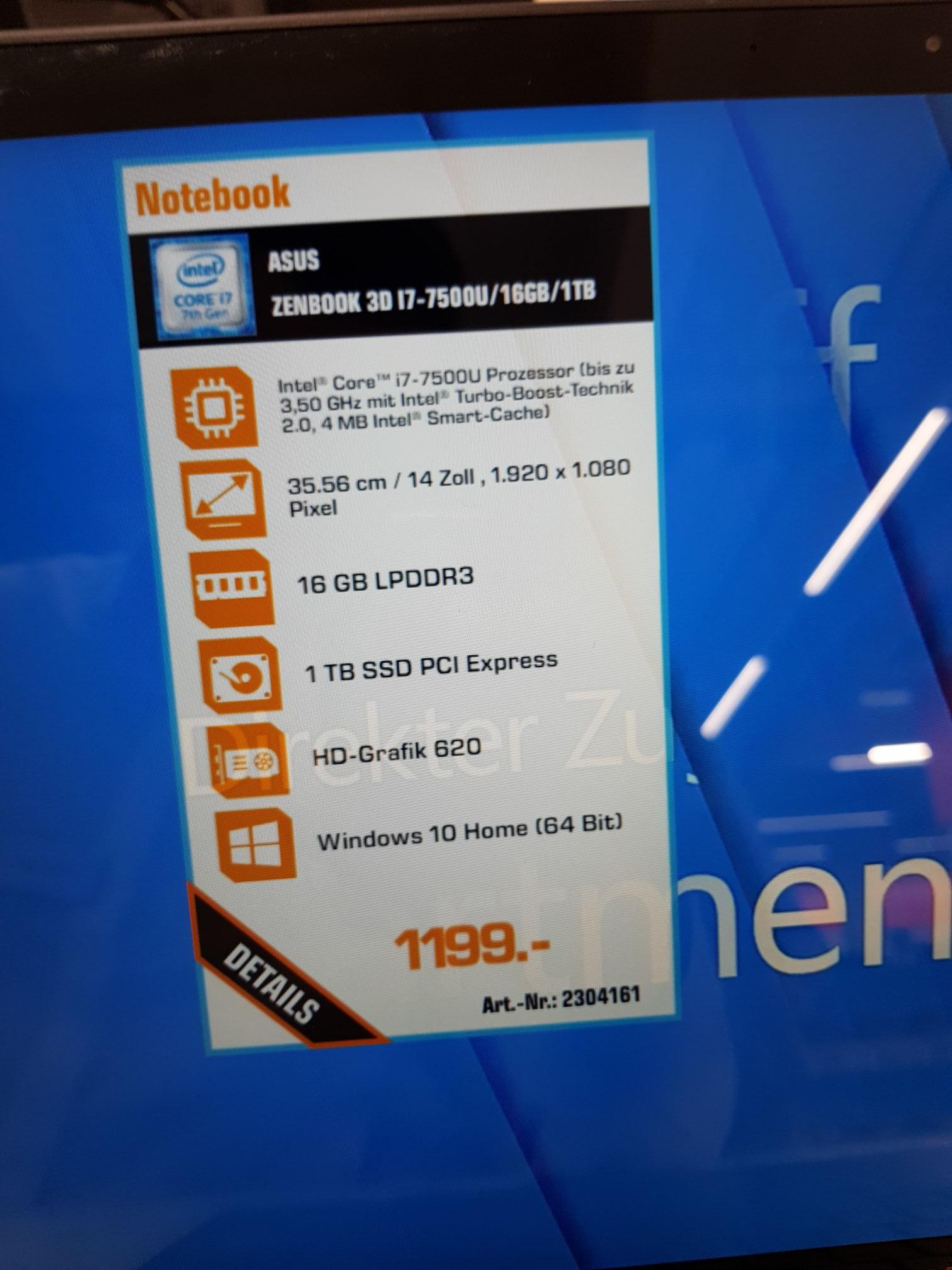 [Köln]Asus Zenbook 3D  für 1199 Euro I7 16 GB 1 TB SSD