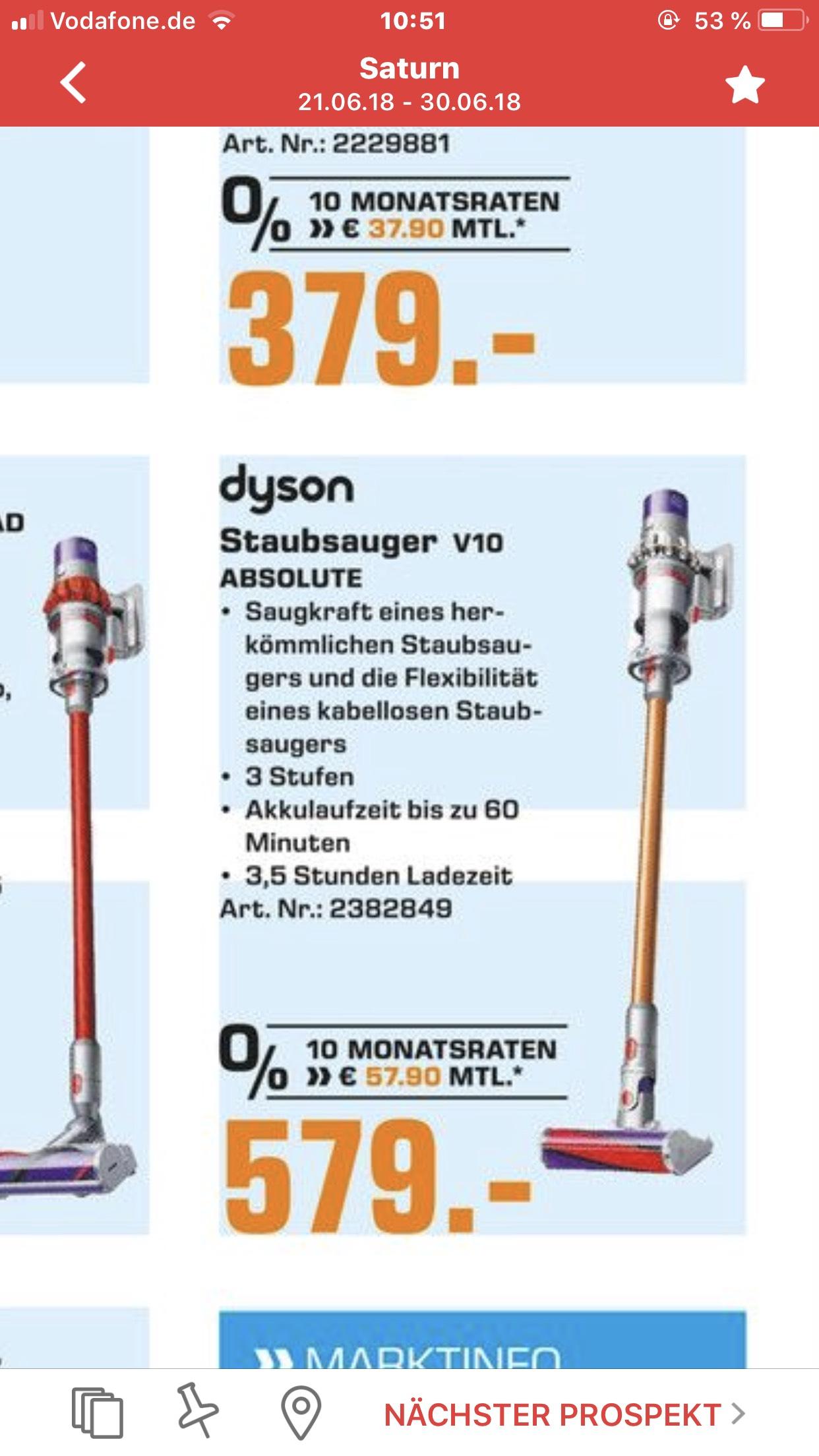Dyson V10 Absolute für 579€ [lokal Saturn Dortmund Eving]
