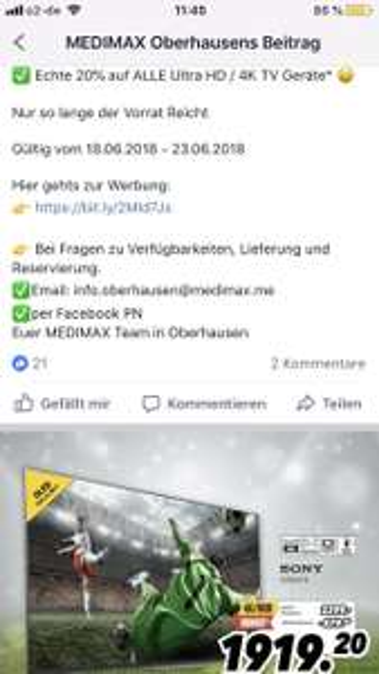 Lokal Medimax Oberhausen / 20% auf alle 4K TVs / Philips oled 973 satte 1000€ unter idealo
