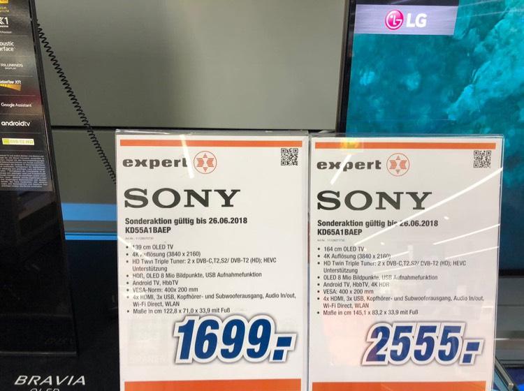 SONY 55A1 1699€/ 65A1 2555€ Expert Dormagen