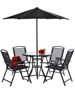 (Lokal HH) Gartenmöbelset: 4 Stühle, 1 Tisch, 1 Sonnenschirm; Online für 94,99 € bei Claas Ohlson