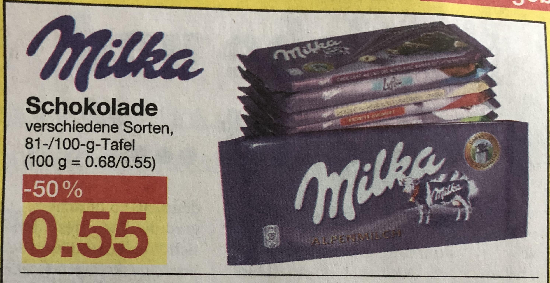 [Jawoll] Milka Tafelschokolade versch. Sorten 100gr für 0,55€