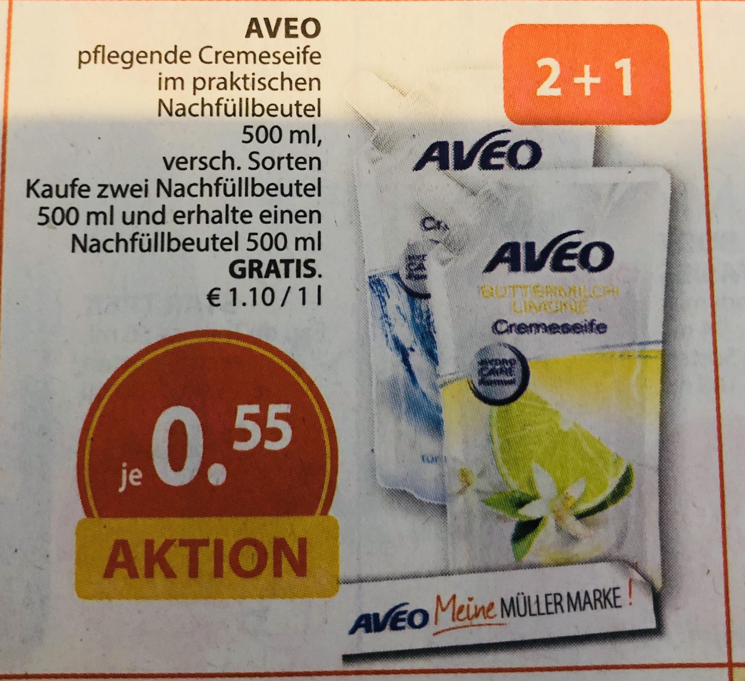 Müller ab 25.06: 3x Aveo 500ml Cremeseife (verschiedene Sorten) 2 kaufen, 1 gratis [0,37€/Beutel]