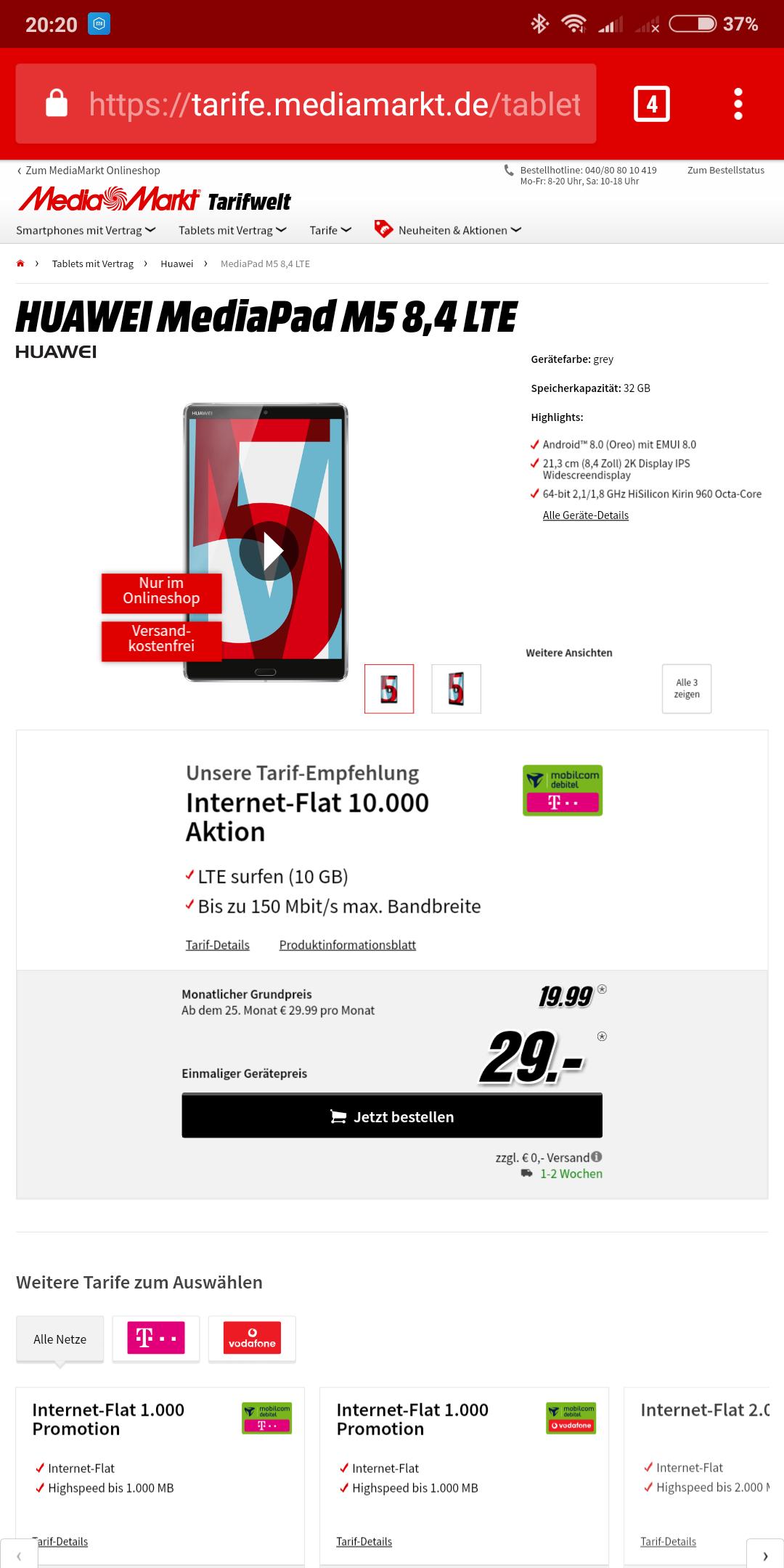 Telekom 10 GByte Datenflat + Huawei M5 LTE