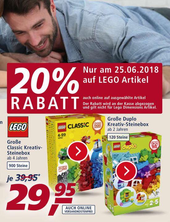 REAL - Lokal 20% Rabatt auf alle Lego Artikel. Teilweise auch online.