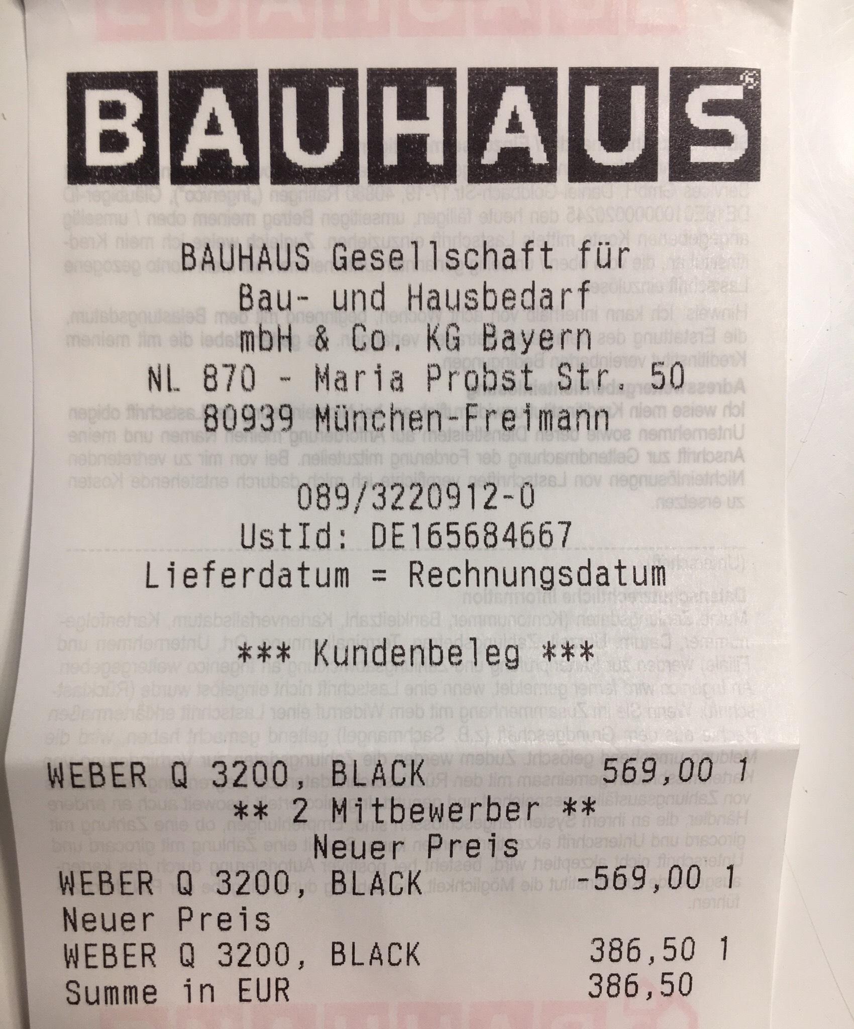 [bundesweit? @Bauhaus] Weber Q3200 mit Tiefpreisgarantie von BAUHAUS