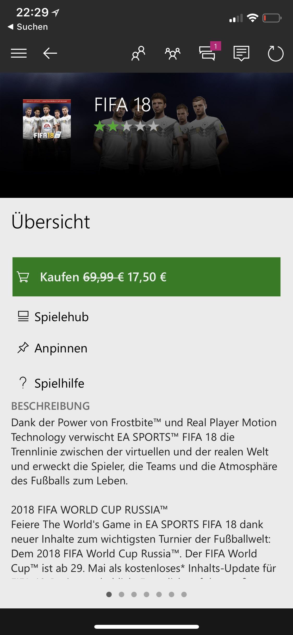 FIFA 18 im XBOX Store für 17,50€ [nur für Gold Mitglieder]