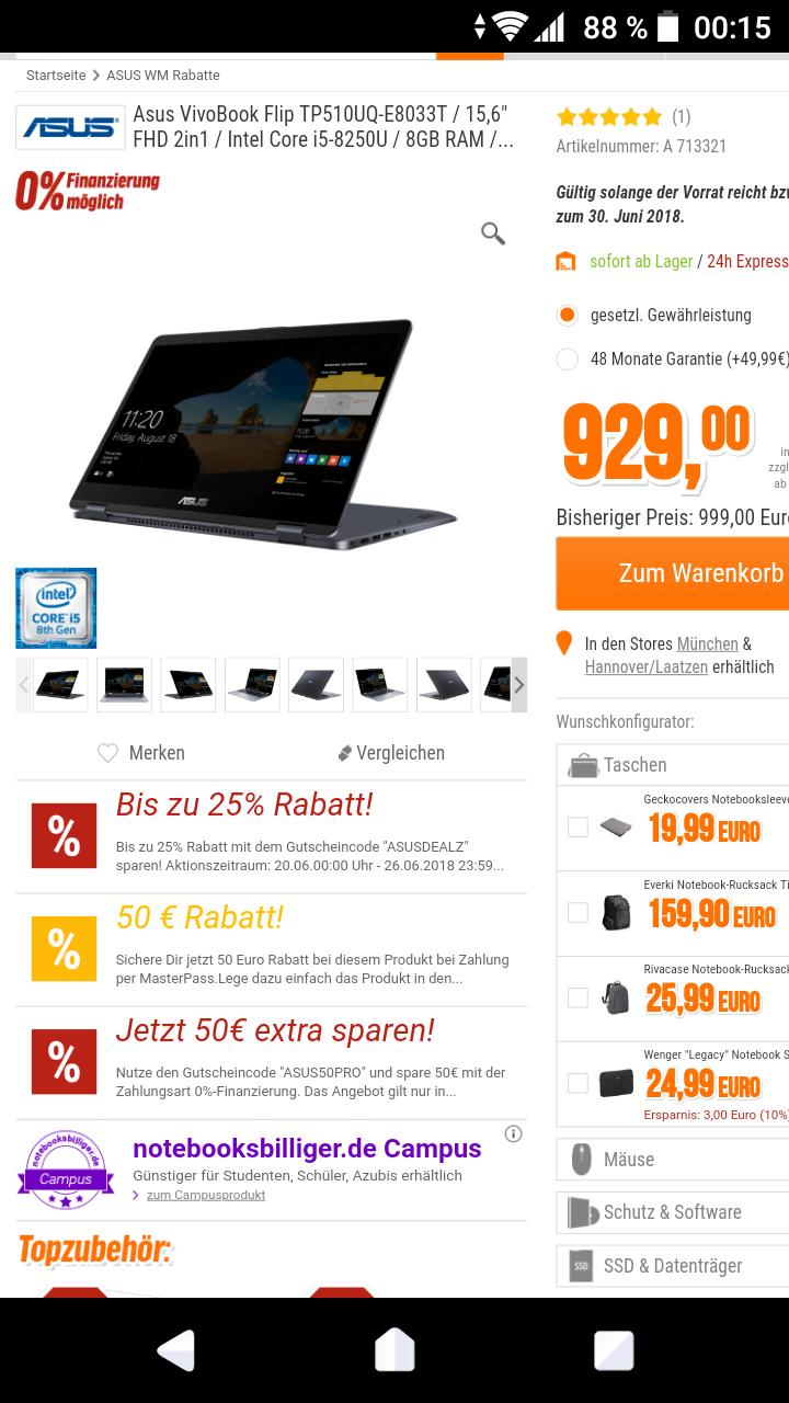 """Asus VivoBook Flip TP510UQ-E8033T / 15,6"""" FHD 2in1 / Intel Core i5-8250U / 8GB RAM / 1TB + 128GB SSD / GeForce 940MX / Win10"""