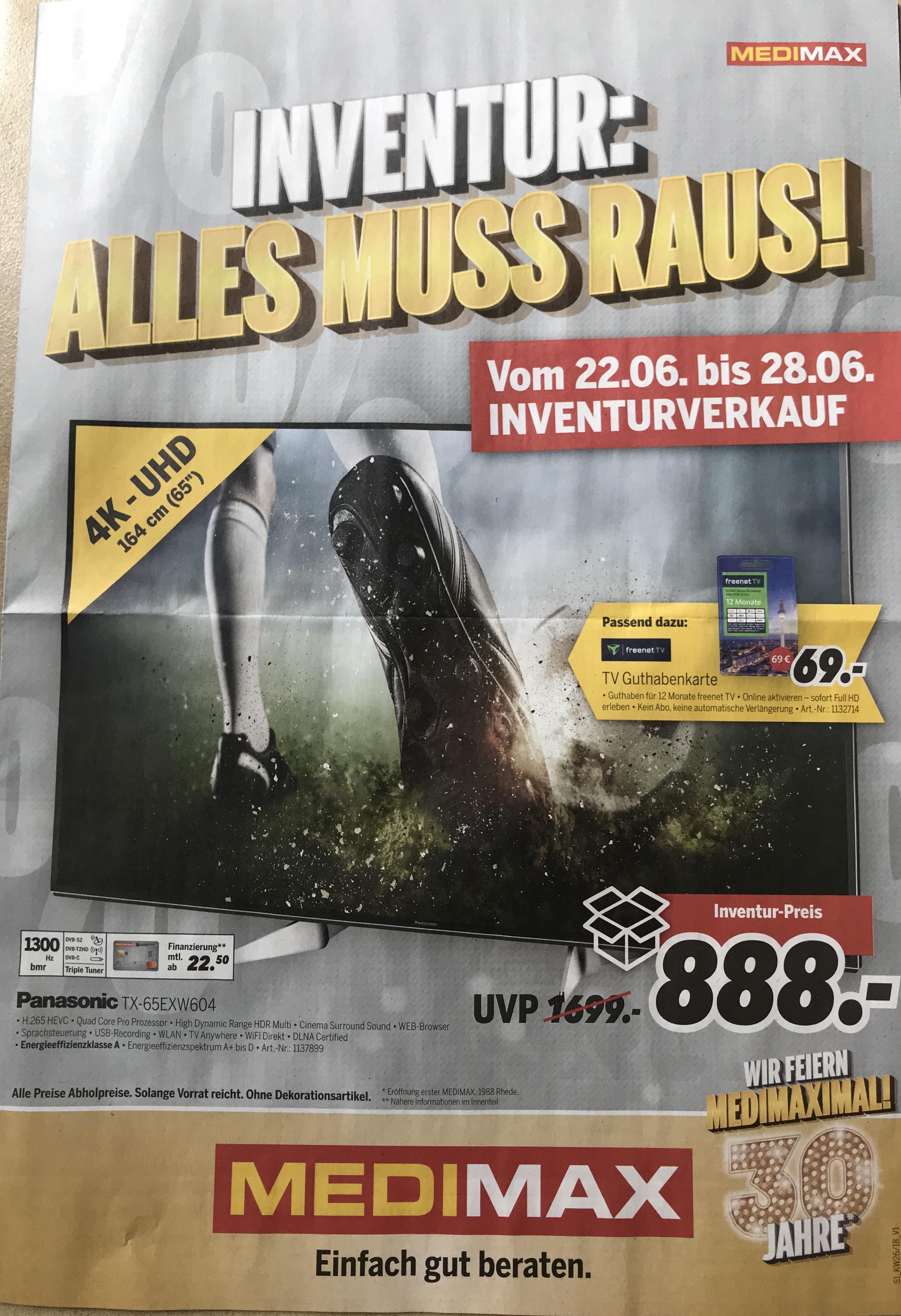 """Panasonic TX-65EXW604 4K-UHD 65"""" in Detmold (Lokal) zum Inventurpreis von 888 €"""
