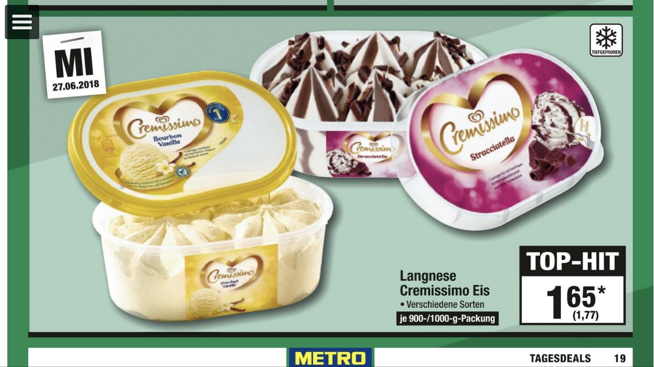 (Metro Tagesdeal) Langnese Cremissimo Eis