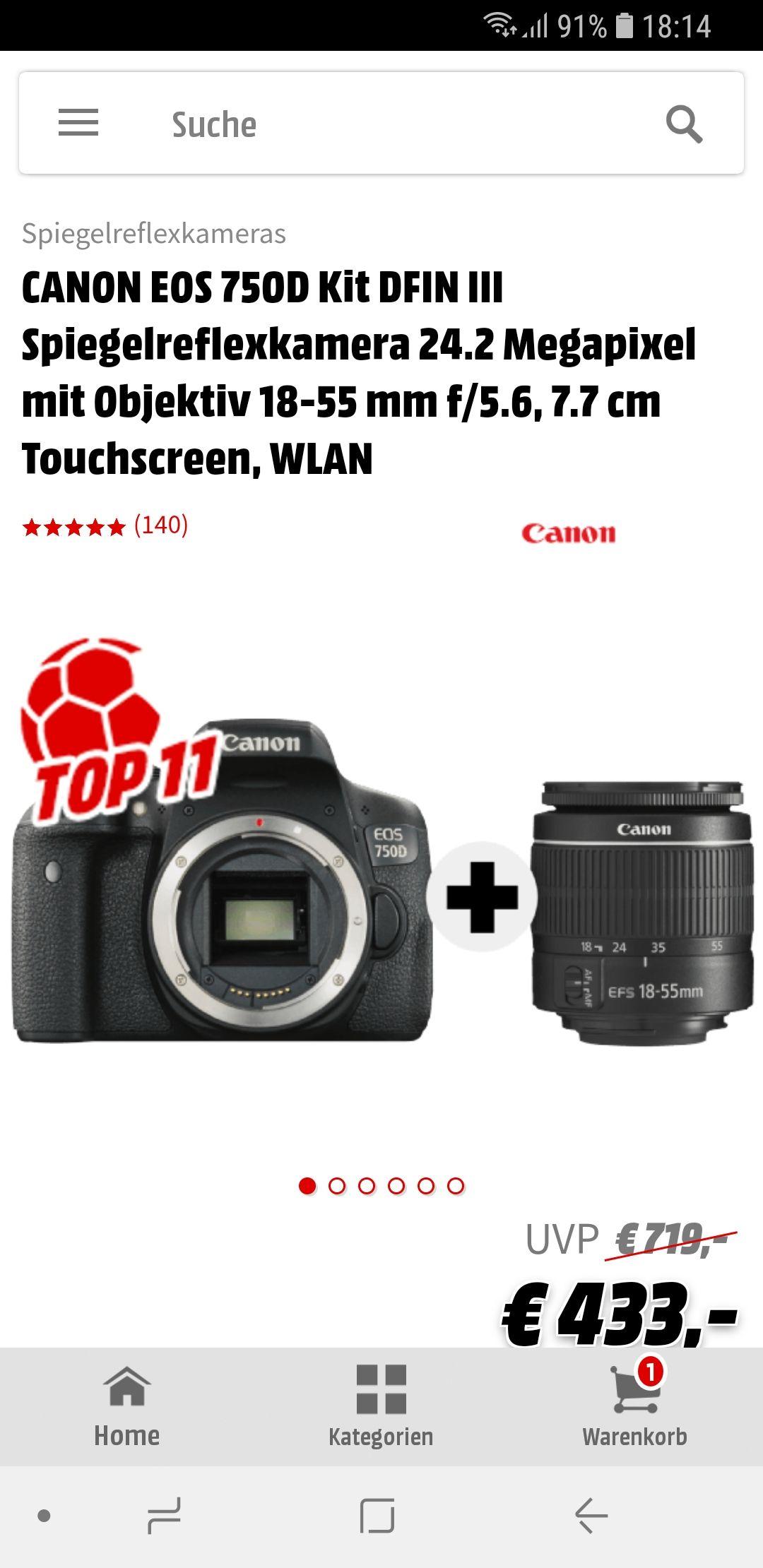 Canon 750D nochmals für 433€