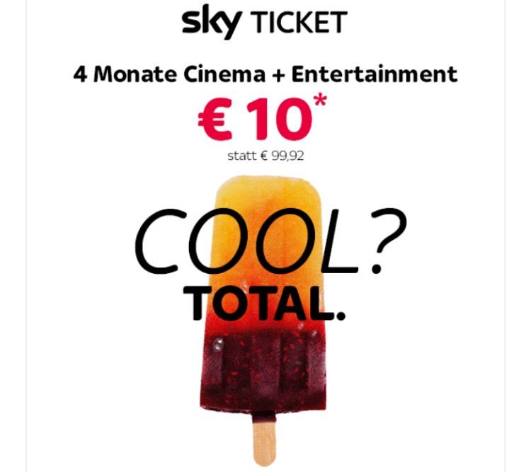 Sky Ticket 4 Monate Cinema + Entertainment für 10€