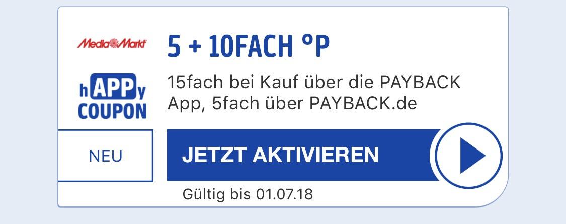 15fach Payback Punkte bei Media Markt bei Kauf über die App