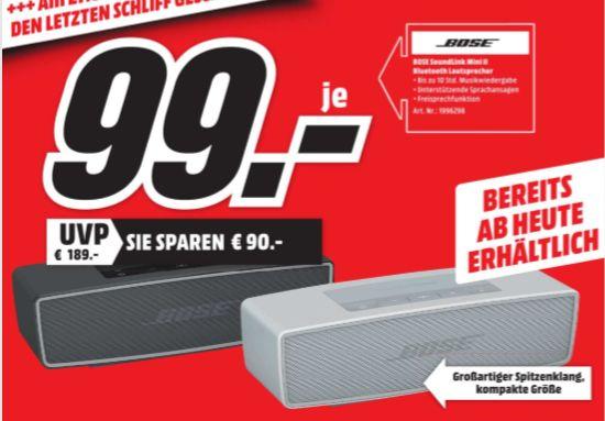 [Regional Mediamarkt Konstanz] Bose Soundlink Mini II – tragbarer Bluetooth Lautsprecher in 2 Farben für je nur 99,-€