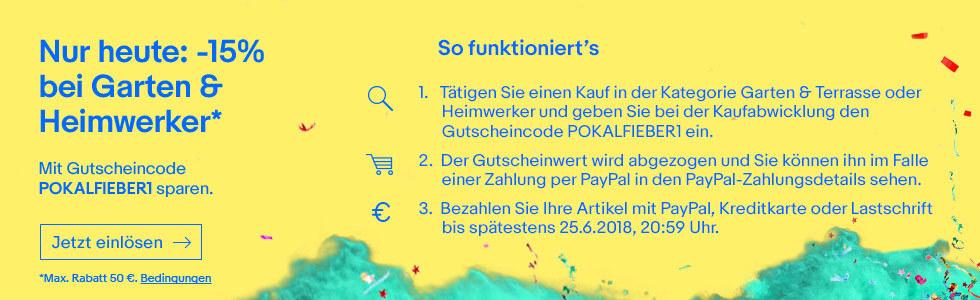 [eBay] 15% in der Kategorie Heimwerken und Garten (max. 50€, 1x pro Account) - mit Beispielen (Bosch, Metabo, Nilfisk, Festool)