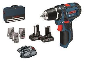 [Werkzeug-Schade@eBay] Bosch Akkuschrauber GSR 12 V-15 mit 2x 4,0 Ah + Bohrer und Bitsatz in Tasche