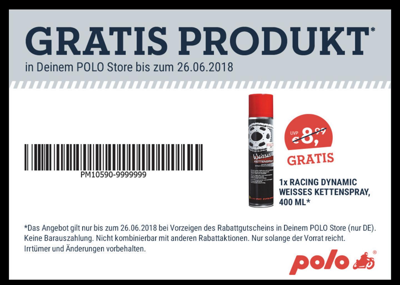 POLO Motorrad gibt gegen Vorzeigen eine Dose Kettenspray aus