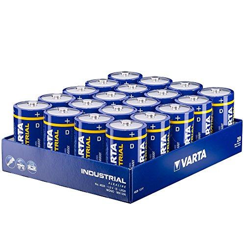 Varta Industrial Batterie D Mono Alkaline Batterien LR20-20er pack, Made in Germany [Amazon.de]