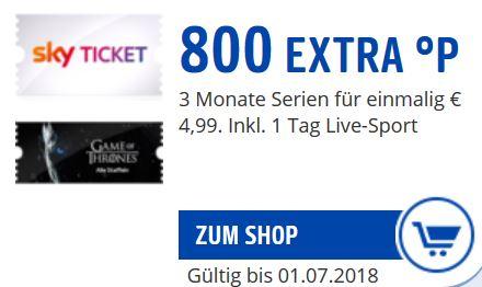 [Payback]  800 Punkte für 3 Monate SkyTicket einmalig € 4,99 inkl. 1 Tag Live-Sport