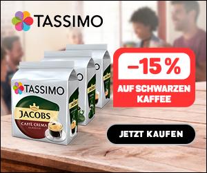"""20% Rabatt auf 8 Packungen Kaffeekapseln für Tassimo (Kategorie """"Schwarzer Kaffee""""): 3,99€ pro Packung inkl. Versand"""