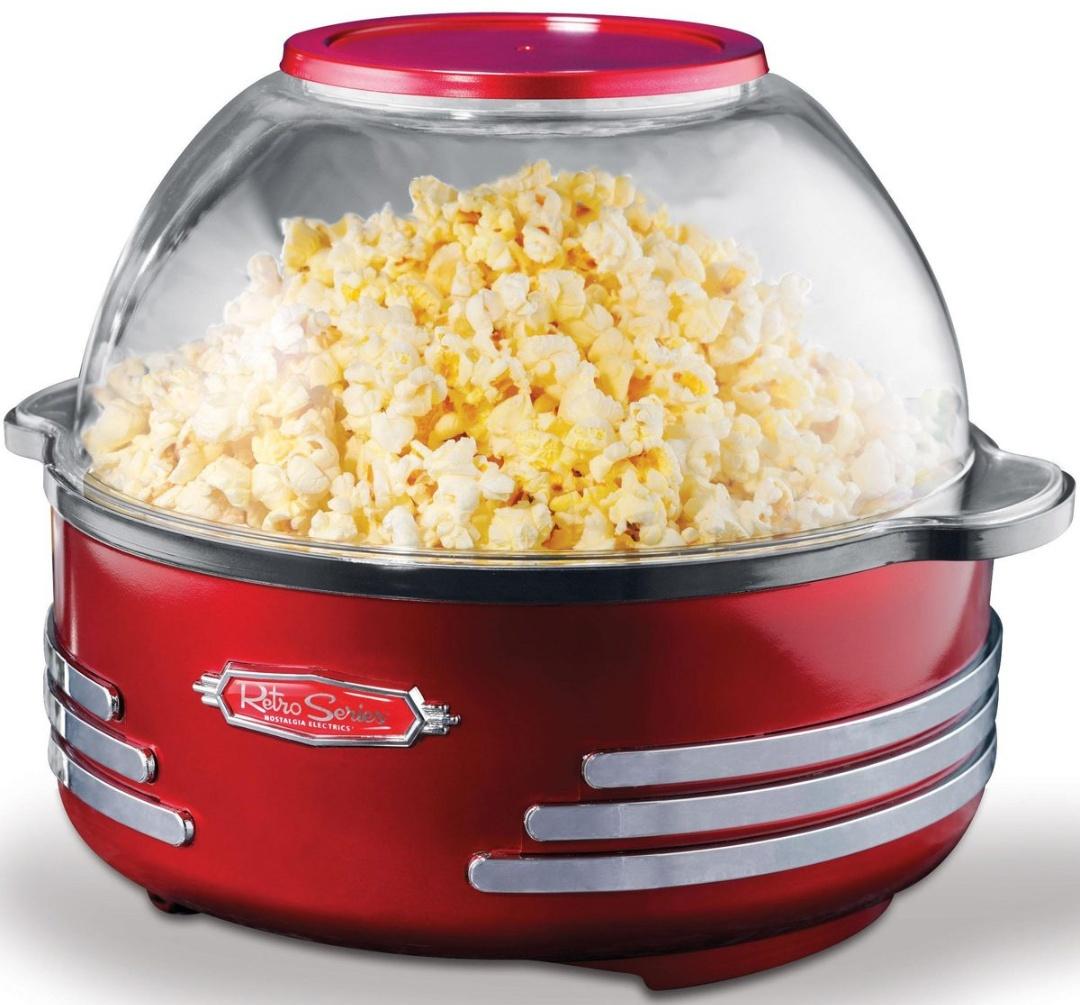 Nostalgia Electrics Popcorn Maker/ Popcornmaschine Family SNP-16 im Retro-Design, 1000 Watt mit integrierter Schüssel