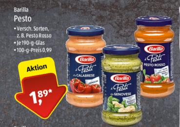 Barilla Pesto für €1,89 - Mit Marktguru für €1,49 [Aldi Süd]