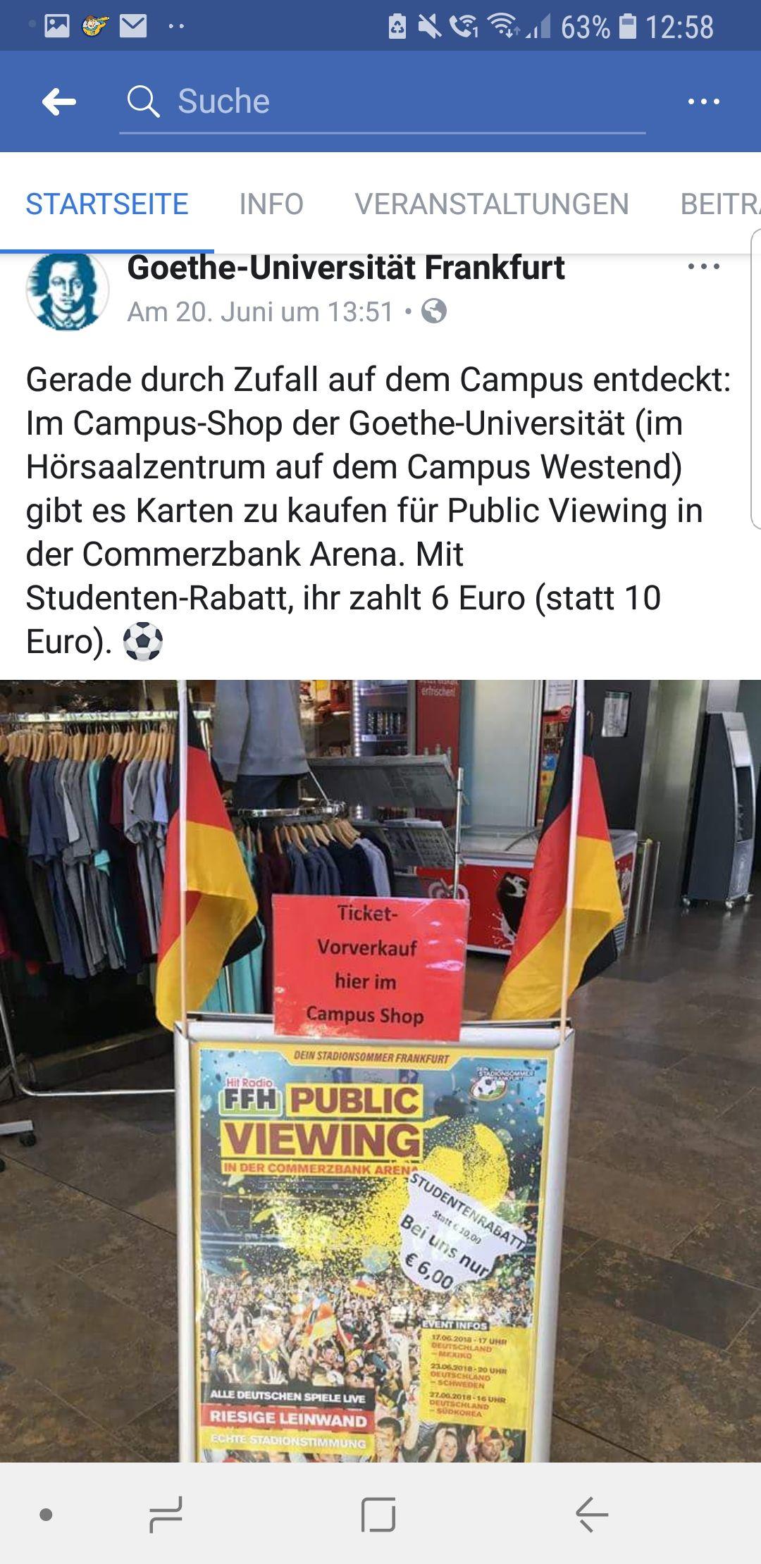[Lokal Goethe Uni Frankfurt + nur für Studenten] Public Viewing CoBa-Arena