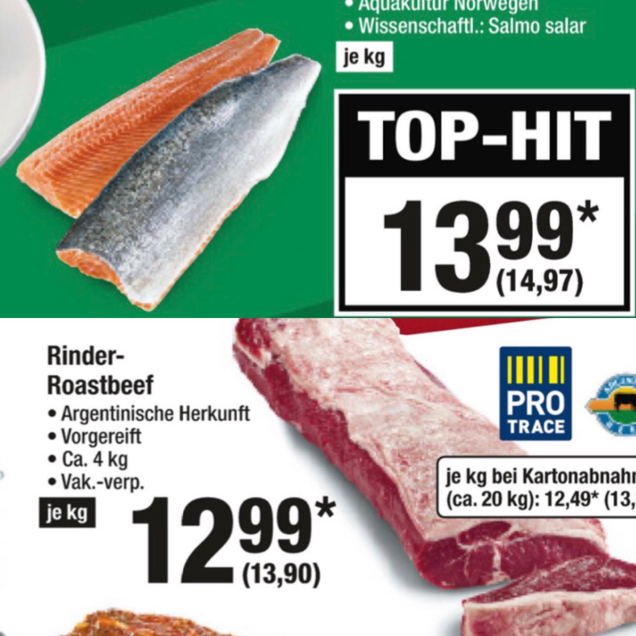 [Metro] ab 05.07 Argentinisches Rinder Roastbeef 13,90 / KG - Bömlo Lachsfilet mit Haut 14,97 € / KG