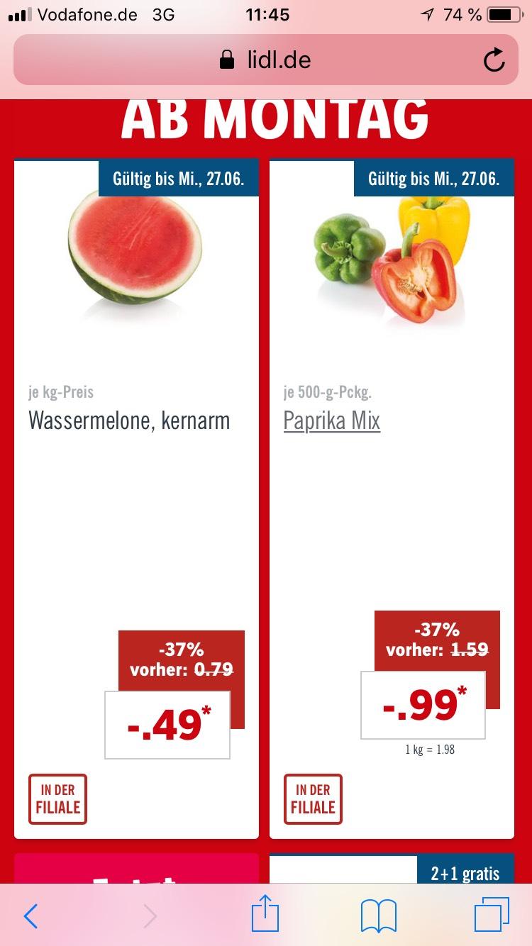 Wassermelone für 0,49 Cent/Kilo bei LIDL vom 25.6-27.6