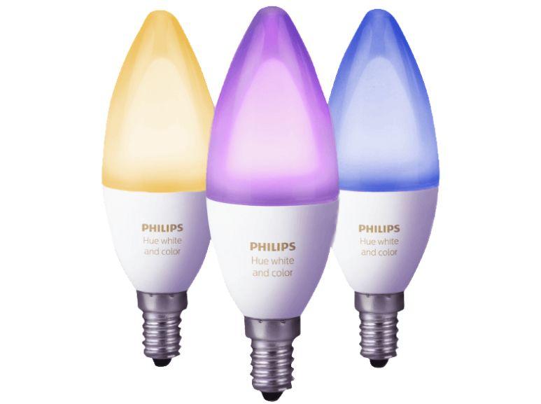 Philips Hue White & Color Ambiance 6,5W E14 3er Pack + Bridge für 99€