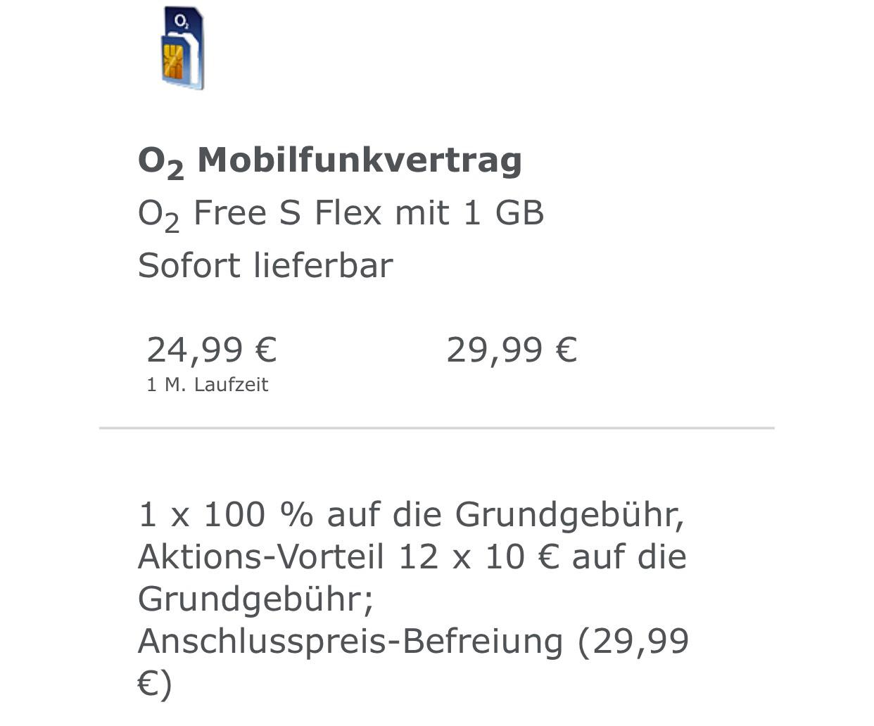 o2 Free S Flex unbegrenztes Datenvolumen für 14,99€ monatlich + Aktivierungsgebühr geschenkt
