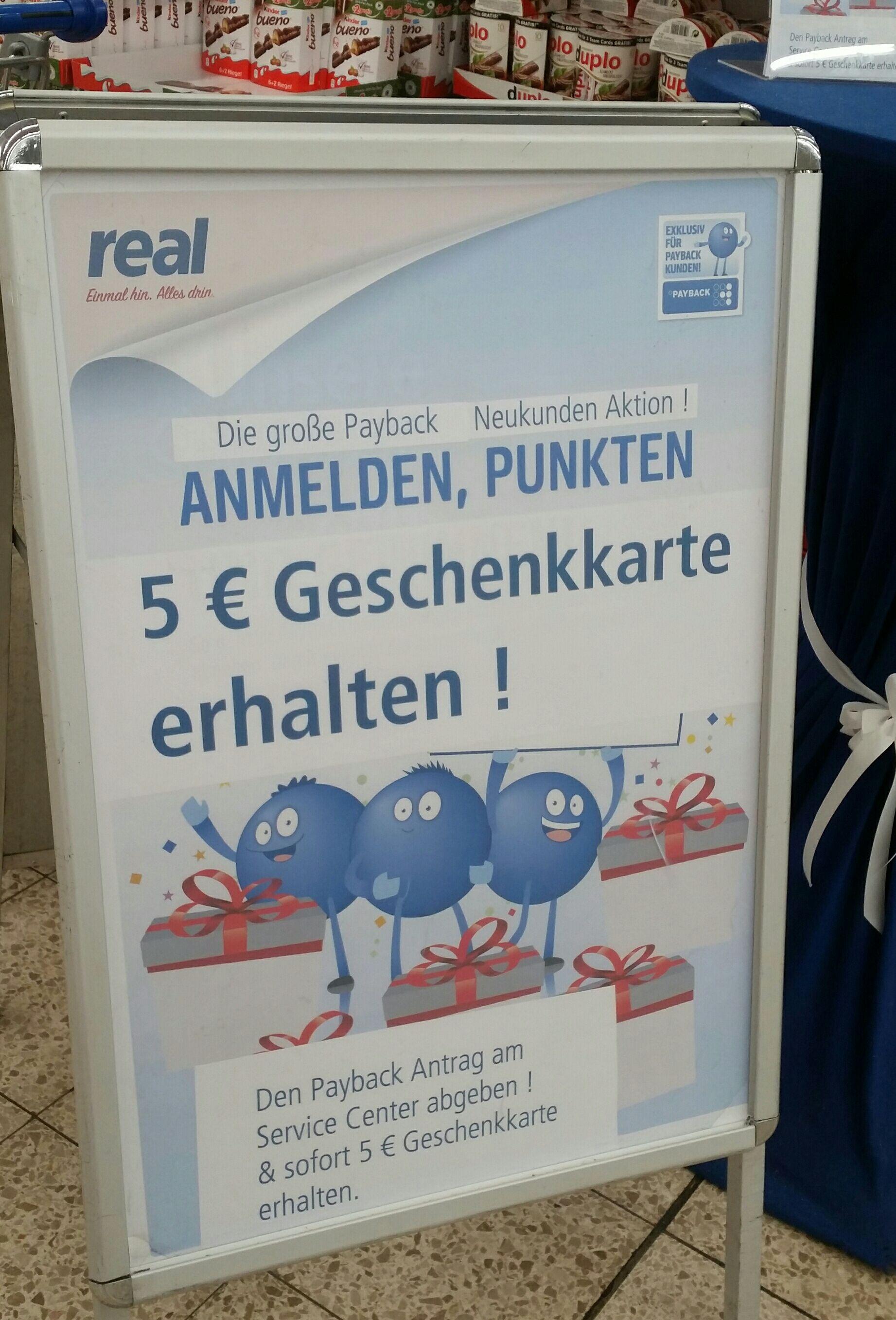 [real - Lokal Düsseldorf?] 5€ Gutschein für Payback-Anmeldung