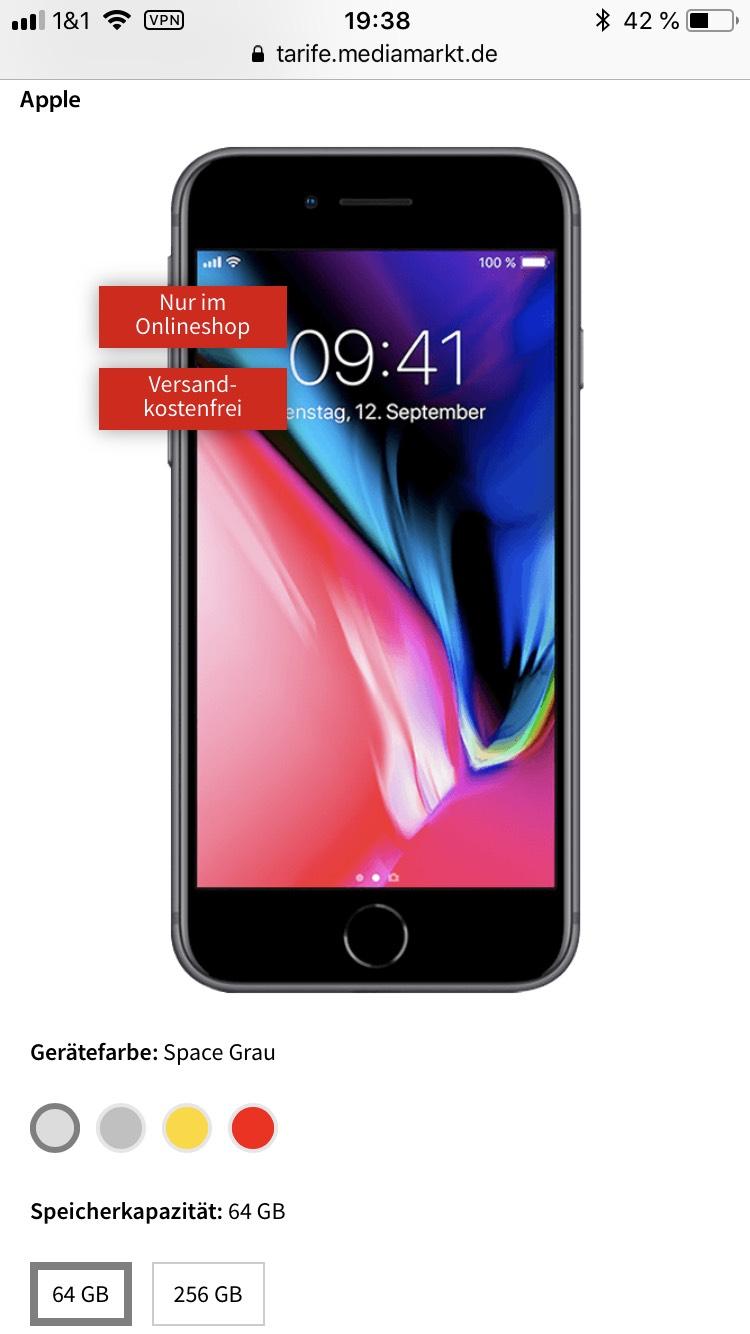 iPhone 8, 64GB Speicher, 8GB 42,2Mbit/s Allnet flat / sms flat und 8Gb