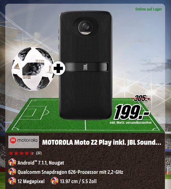 MOTOROLA Moto Z2 Play inkl. JBL SoundBoost 2 64 GB Dual SIM in 2 Farben + Fußball für je  199,-€ [Mediamarkt]